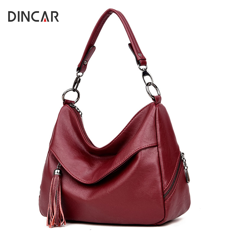 DINCAR Luxury Handbags Women Bags Designer Tassel Hobos Shoulder Bag Pu Leather Crossbody Bags For Women Casual Tote Bag Sac New 2017 women bag luxury brand handbags women crossbody bags designer pu leather casual tote bag ladies messenger bags fashion sac