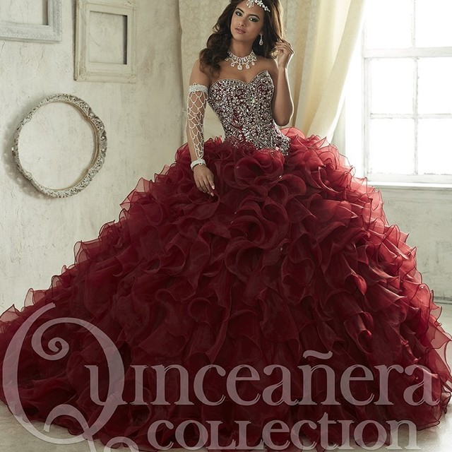 a24e52da7f Maroon Quinceanera Dresses 2017 Sweep Train Tiered Cascading Ruffles  Pageant Gown Luxury Crystal Corset Sweetheart Party Dress
