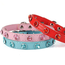Fashion Style Pu Leather Dog Collar Simple Cute Gem Decoration Necklace Small Pet Pets Accessories Supplies