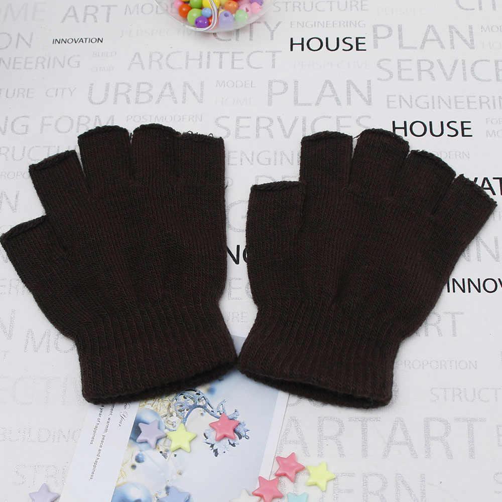cd4aff5b3 ... Men Knitted Stretch Half Finger Fingerless Gloves for Winter Women Soft  Warm Elastic Mittens Accessories Drop ...