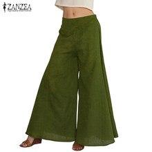 1bd50efac5a38 ZANZEA Women Fashion Wide Leg Pants Casual Loose Elastic High Waist Elegant  Ladies Solid Trousers Plus Size 2018 Summer Pants