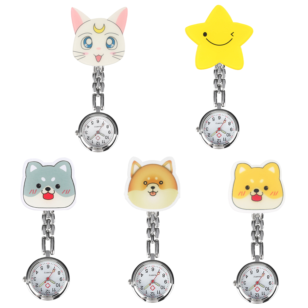 Plastic Cute Cartoon Pattern Ornament Nurse Premium Quartz Watches For Women Nurse Practical Luminous Function Pendant Watches