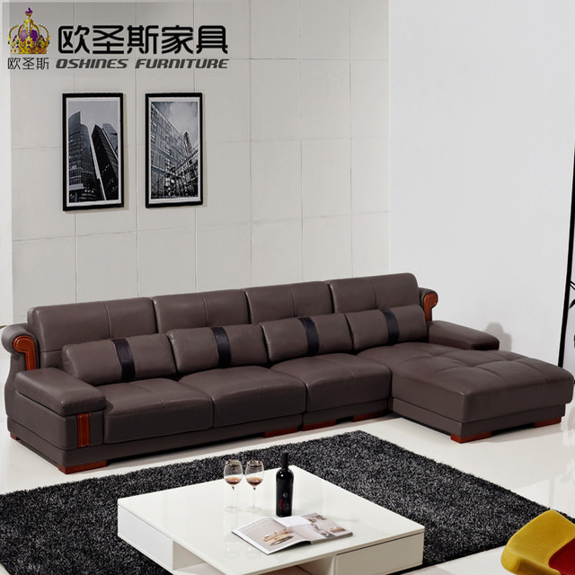 US $950.0 |Luce di caffè marrone insinuante a buon mercato ad angolo divano  a forma di l divano in pelle set con decorazione di legno gambe e cuscini  ...