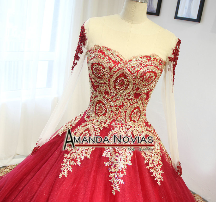 Image 4 - 2019 Luxury Wine Red With Golden Lace Wedding Dress Ball Gown With Sleeveswine redwith sleeveswedding dress with lace -