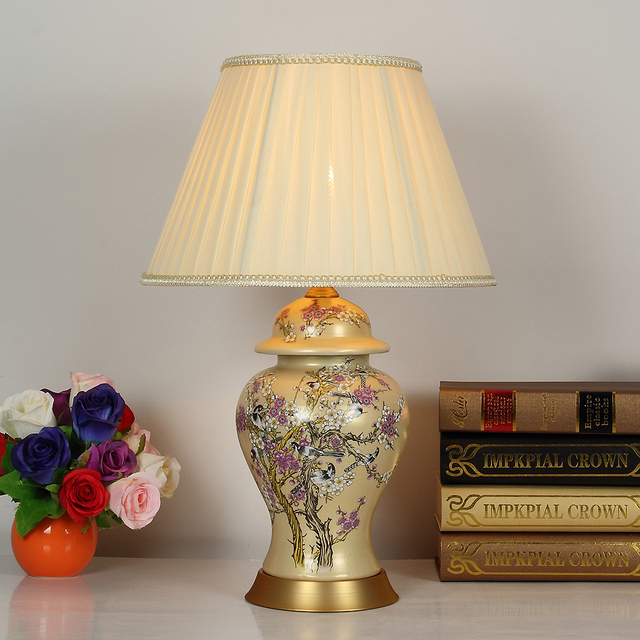 Art Chinese Porcelain Ceramic Table Lamp Bedroom Living Room Wedding Table  Lamp Jingdezhen Light Vintage Porcelain