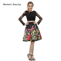 Sexy A Line Floral Print Beaded Long Sleeve Lace Homecoming Dresses 2017 For Size 18 Girls