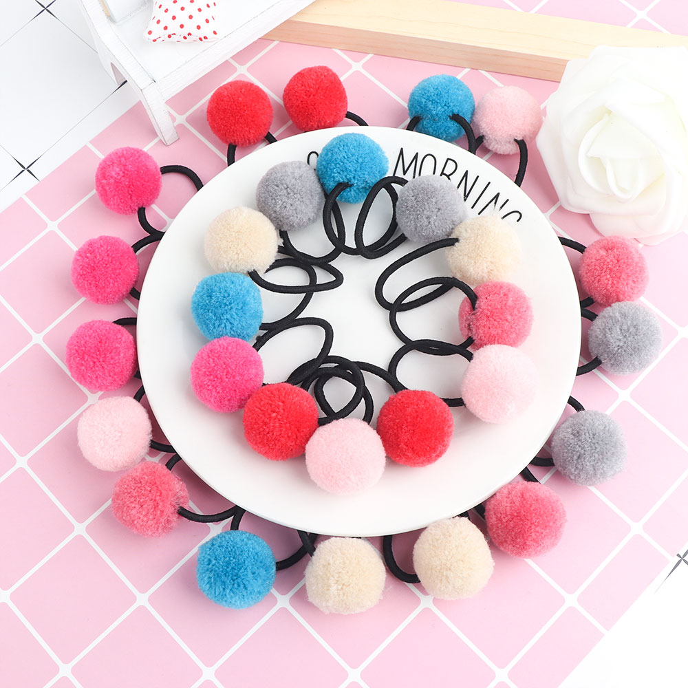 4Pcs Baby Kids Cute Hair Accessories Headwear Mini Ball Rubber Headbands Girls Children Solid Color Pompon Gum Elastic Hair Band