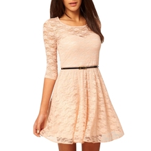 Women Lace Solid Color Elegant O-neck 3/4 Sleeve Loose Vintage OL-style Dresses With Belt