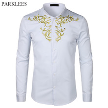 Gold Flower Embroidery Shirt Men Long Sleeve Chemise Homme 2018New Solid Color White Dress Shirts Mens Slim Fit Wedding Camisa