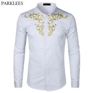 Image 1 - זהב פרח רקמת חולצת גברים ארוך שרוול תחתונית Homme 2018New מוצק צבע לבן שמלת חולצות Mens Slim Fit חתונה Camisa