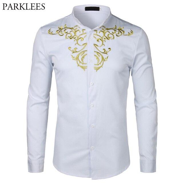 זהב פרח רקמת חולצת גברים ארוך שרוול תחתונית Homme 2018New מוצק צבע לבן שמלת חולצות Mens Slim Fit חתונה Camisa