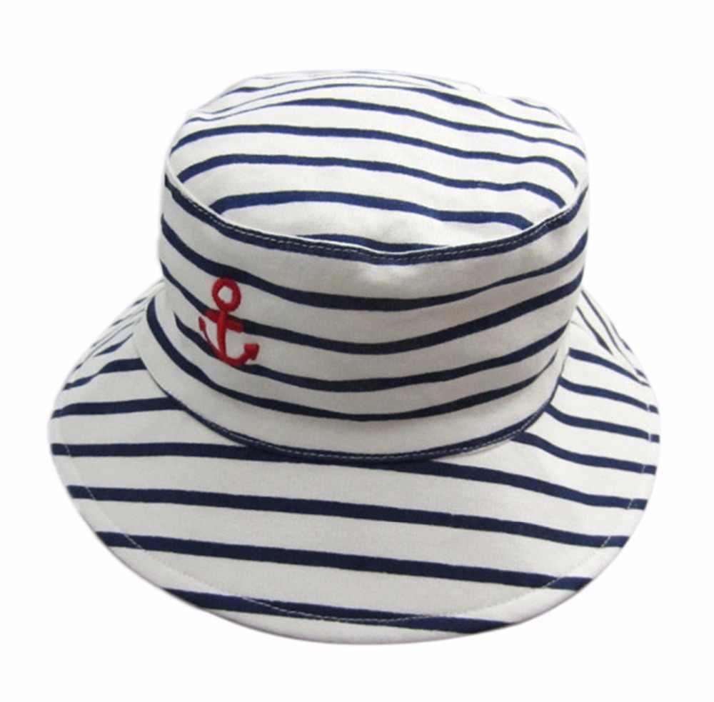 a9c0d9c0 ... Baby Boy's Stripes Bucket Fisherman Hats Children Outdoor Beach Sun Cap  Summer Newborns Kid Broad Brim ...