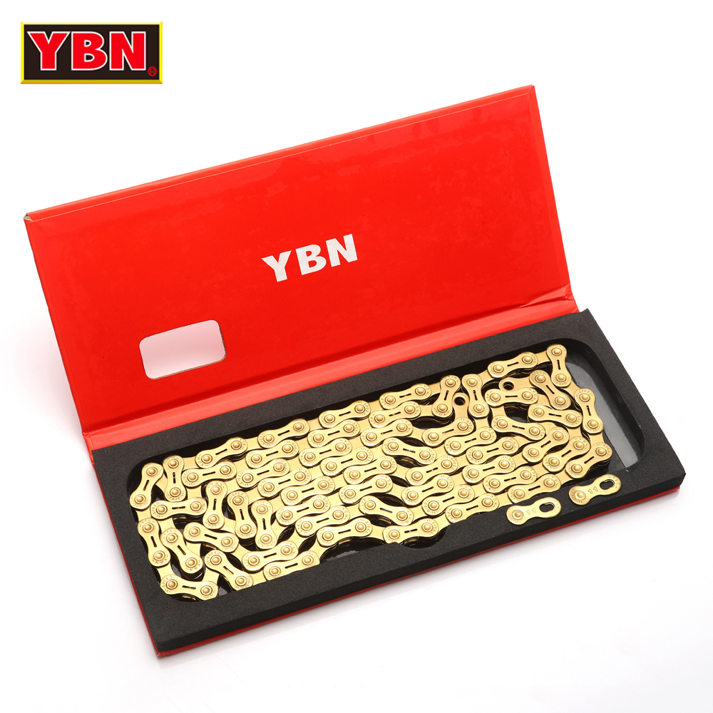 YBN chain GH11-TIG golden bicycle half hollow 11 speed bike chain mountain road bike 11 variable ultralight 266g 116 links boxed ybn road mountain bike chain 10 speed 116 links mtb bicycle cycling chain gold golden chain for shimano sram system