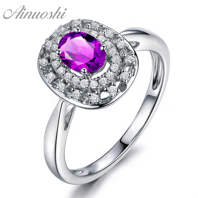 AINUOSHI Natural Amethyst Double Halo Ring 0.5ct Oval Cut Gems 925 Sterling Silver Ring Fine Engagement Party Jewelry Women RingAINUOSHI Natural Amethyst Double Halo Ring 0.5ct Oval Cut Gems 925 Sterling Silver Ring Fine Engagement Party Jewelry Women Ring