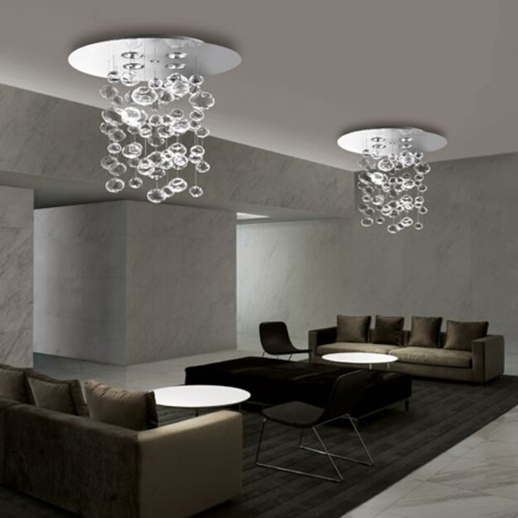 D100 x H86CM Ether 90 S by Patrick Jouin from Leucos Murano Due Bubble Glass Chandelier LED Lighting Fixture