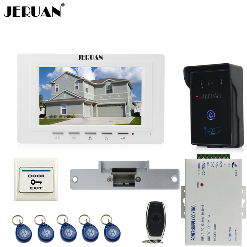 JERUAN brand new 7`` TFT Video Door Phone System 700TVT Touch Camera+Cathode lock+Remote control Unlock jeruan new 7 lcd video door phone system 700tvt camera access control system electric drop bolt lock remote control unlock