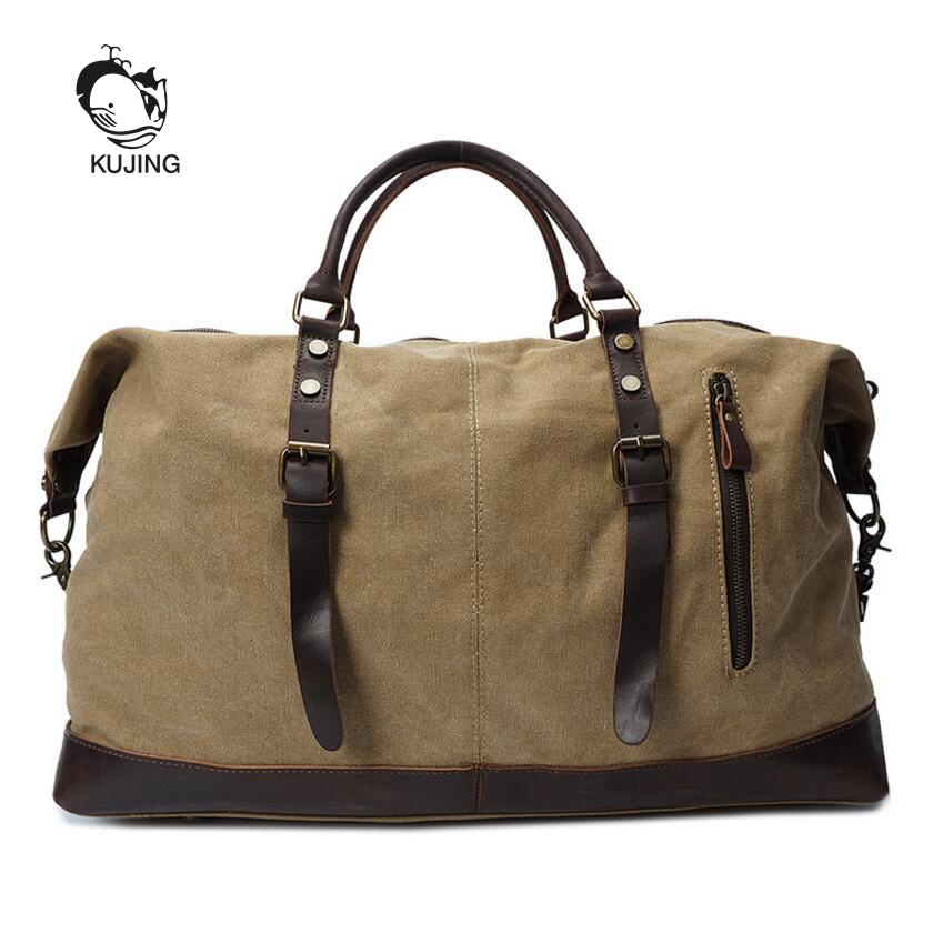 KUJING Fashion Leather Men Bag High-quality Large-capacity Travel Bag Luxury Canvas Shoulder Messenger Bag Hot Male Casual Bag kujing canvas men s bag high quality cowboy large capacity travel men handbag retro shoulder messenger bag luxury men casual bag