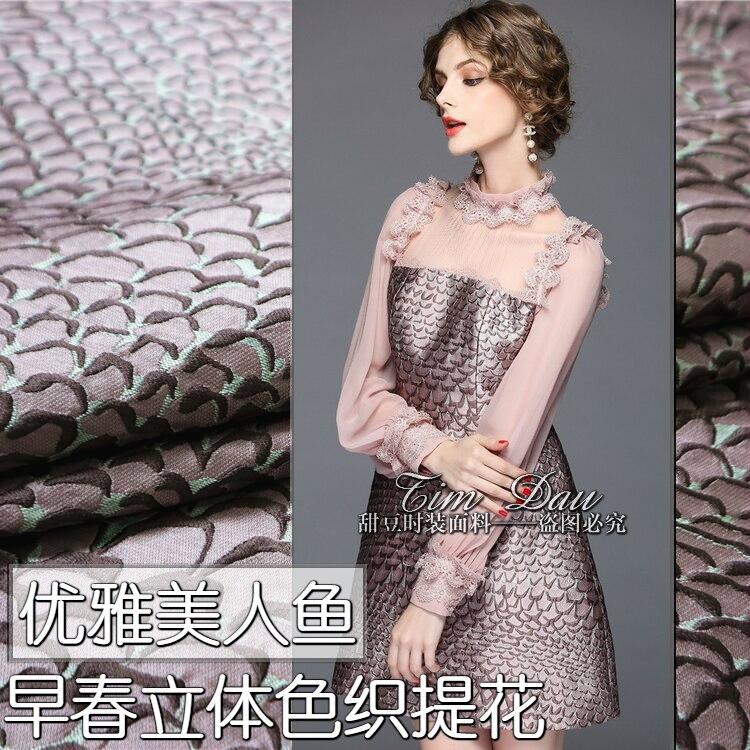 Tissu jacquard sirène 145 cm robe teinte en fil de haute qualité tissu jacquard coupe-vent en gros tissu jacquard