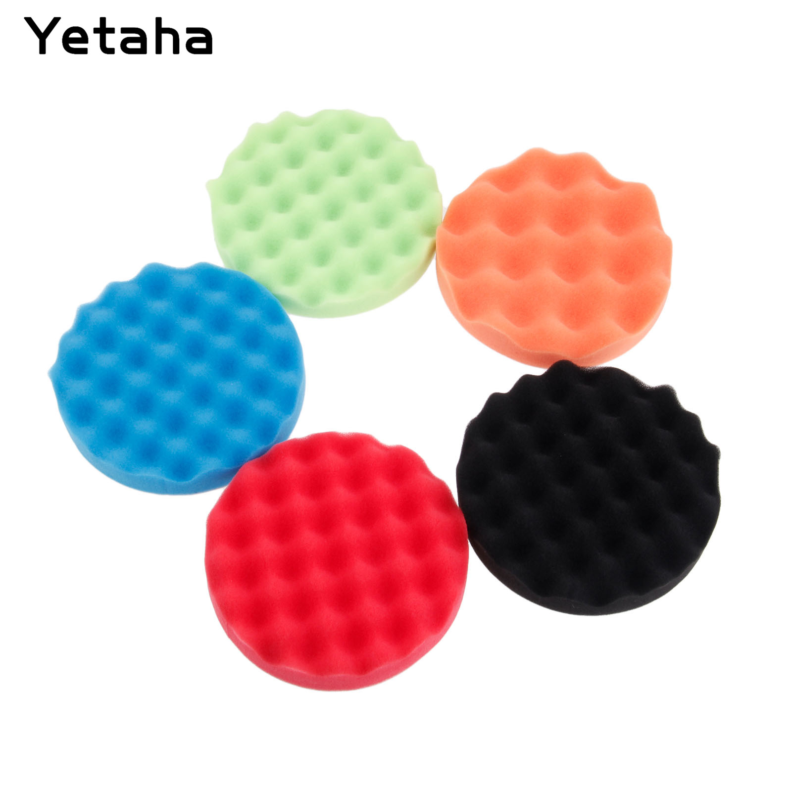 """Image 2 - 5Pcs 6"""" 7"""" 150/180mm Buffing Polishing Sponge Pads Kit Car Polisher Soft Wave Foam Waffle Pad Car Wash Cleaning Detailing Tool-in Sponges, Cloths & Brushes from Automobiles & Motorcycles"""