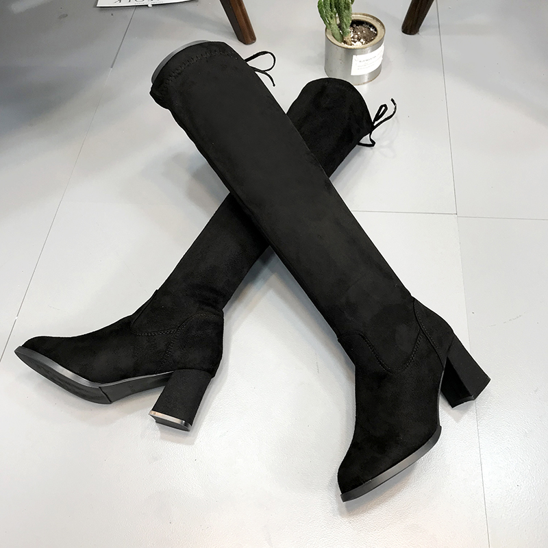 94ff45d228a Barato Moxxy invierno de alta del muslo botas de mujer de felpa caliente  por encima de la rodilla botas largas botas de gamuza negro Sexy zapatos de  tacones ...