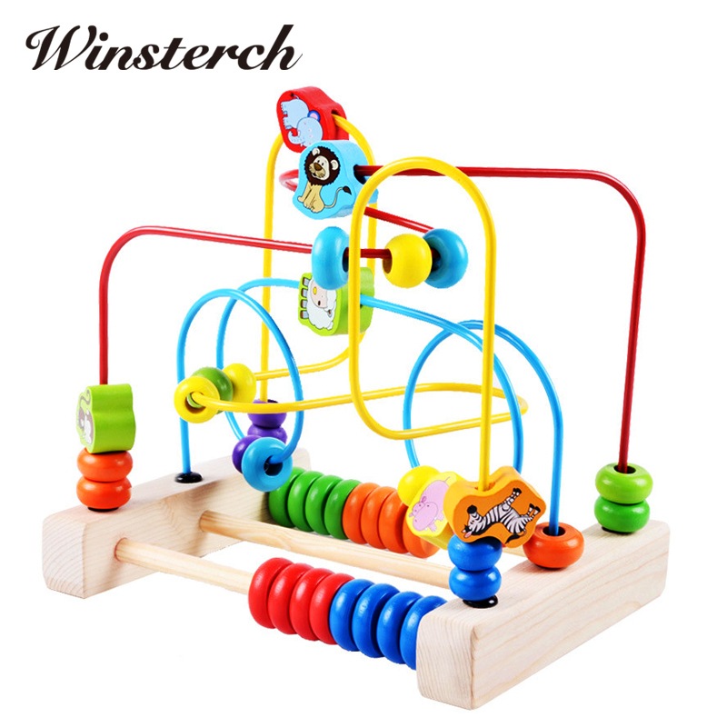Baby Learning Early Education Wooden Maze Multi-function Box Round Bead Maze Roller Coaster Toys For Kids Children Gifts ZS012