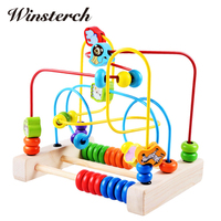 Baby Learning Early Education Wooden Multi Function Box Round Bead Maze Roller Coaster Toys Set For