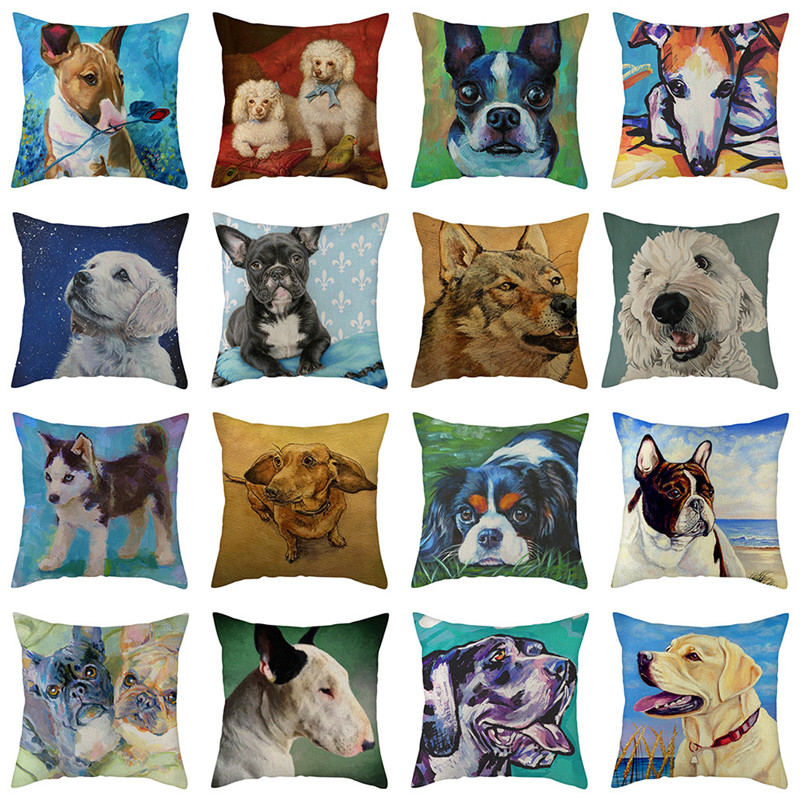 Fuwatacchi Cute Dog Cushion Cover Linen Cotton Soft Poppy Throw Pillow Cover Decorative Sofa Pillow Case Pillowcase 2019