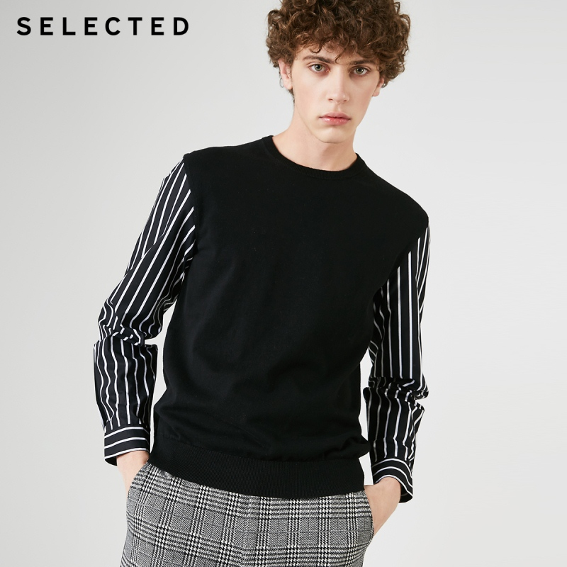 SELECTED Men's 100% Cotton Stripe Splice Knitted Sweater S|419124521