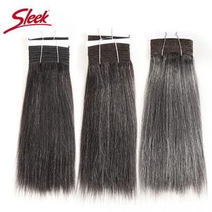 Image 1 - Sleek Colorful Hair Brazilian Hair Weave Bundles Straight Hair bundles #44 #34 #280 51# Piano Gray Remy Human Hair Extensions