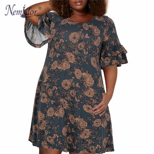 Image 4 - Nemidor Women Vintage Ruffles Sleeve O neck 50s Party Stretchy A line Dress Plus Size 7XL 8XL 9XL Casual Swing Dress With Pocket