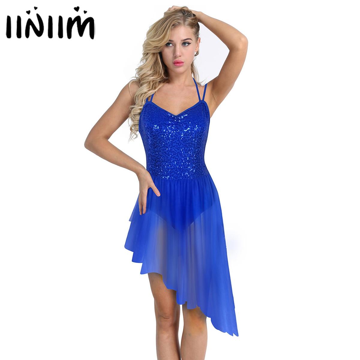 Womens Adult Costumes Ballet Dress Spaghetti Straps Sequins Irregular Tulle Ballet Dancewear Gymnastics Leotard Bailarina Dress