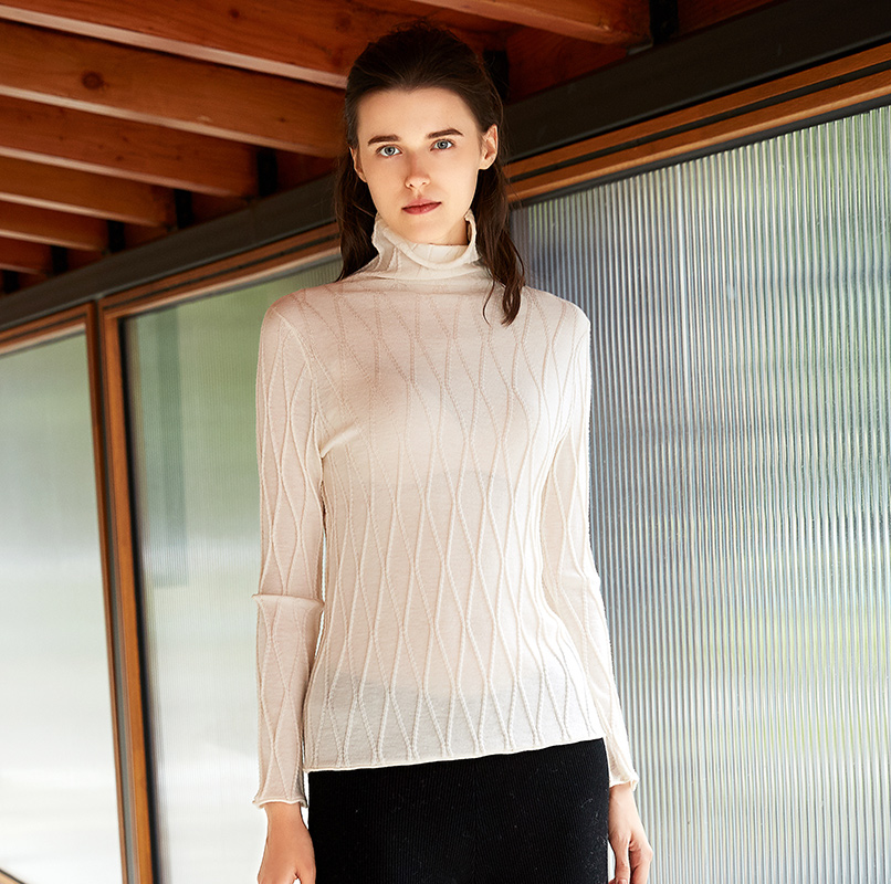 ZHILI 2018 новый осенне зимний отложной Бежевый свитер из 100% шерсти
