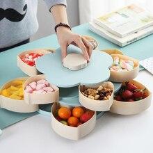 Caja de aperitivos giratoria en forma de pétalo bandeja de dulces caja de almacenamiento de alimentos platos de dulces de boda simple/doble cubierta seca fruta organizador de almacenamiento