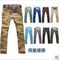 2017 pantalones de los hombres de la marca de Los Hombres pantalones casuales hombres de la moda de colores de doble cierre diseño de bolsillo 2 10 colores pantalones K08