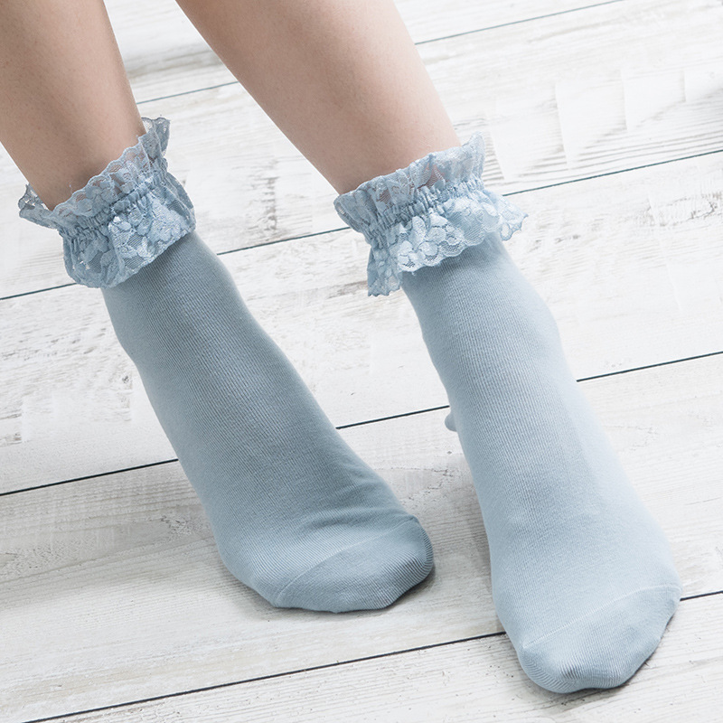 Hot Sales Fashion Womens Socks 100% Cotton Korean Style Lace Candy Socks Soft Warm Comfortable High Qualith Womens Socks