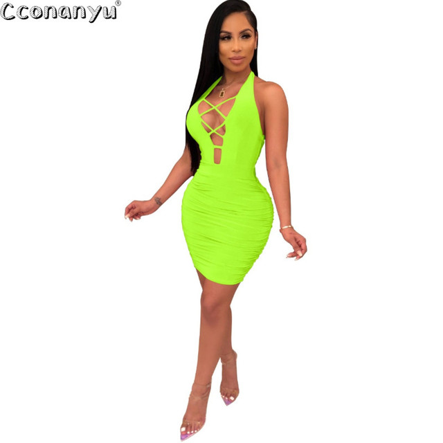 Women Halter Dress Sleeveless Bandage Backless Dresses 2019 New Arrivals Summer Bodycon Womens Sexy Dresses Party Night Club