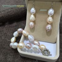Summer Stely Semi Baroque Bracelet Hook Dangle Earring Freshwater Pearl Set Mixed Color White Pink Purple