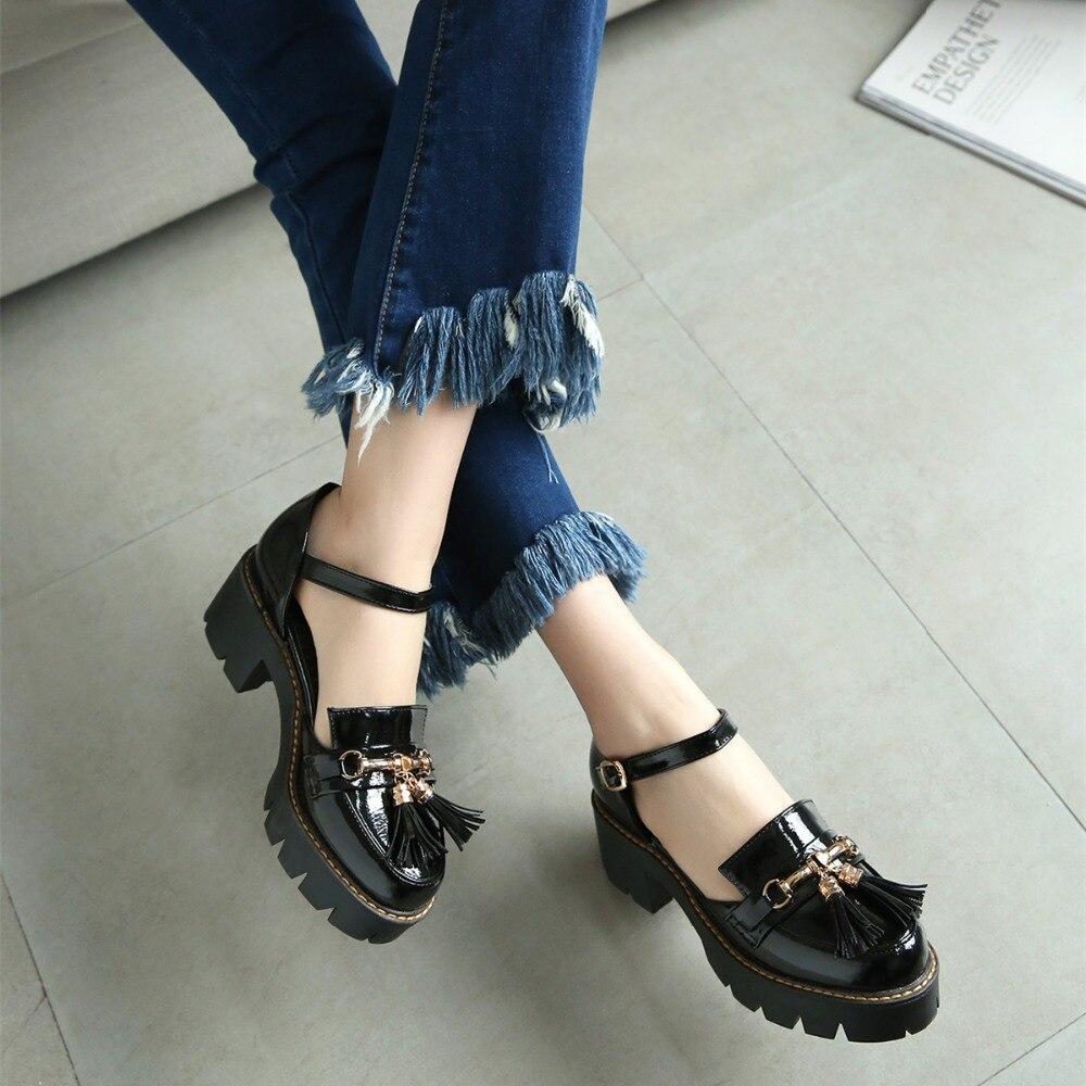 Jamaican sandals shoes - Preppy Women S Mid Chunky Heels Ladies Ankle Strap Fringes Sandals Shoes Pumps