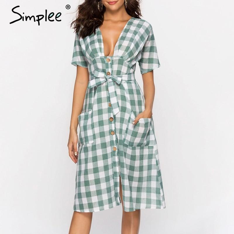 Simplee сексуальное клетчатое женское платье с v-образным вырезом, элегантный галстук-бабочка в стиле кэжуал, уличная летняя одежда, льняное же...