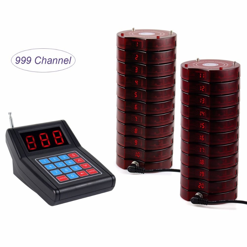 999 channel Wireless Paging Queuing Calling System with 1 Transmitter + 20 Coaster Pagers Restaurant Equipment Y4474 2 receivers 60 buzzers wireless restaurant buzzer caller table call calling button waiter pager system