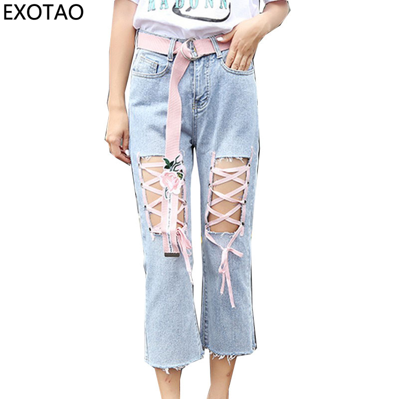 EXOTAO Fashion Lacing Women Jeans Summer Hole Vaqueros Mujer Slim Ankle-length Female Denim Pants Without Sashes High Waist fashion brand women jeans high waisted denim jeans ripped trousers washed vintage big hole ankle length skinny vaqueros mujer
