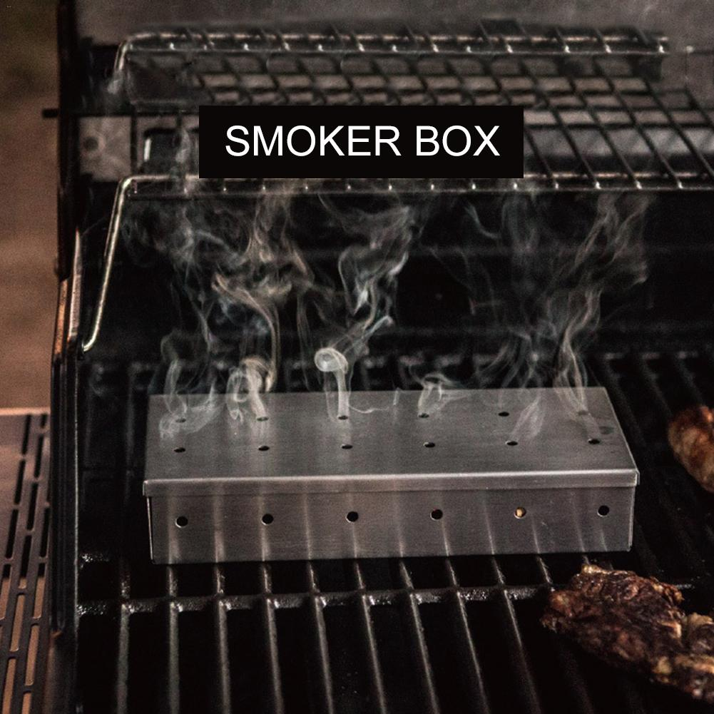 outdoor bbq supply heavy duty stainless steel bbq smoker box for grilling barbecue wood chips on. Black Bedroom Furniture Sets. Home Design Ideas