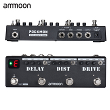 Ammoon pockmon multi efeitos tira pedal de guitarra com tuner atraso distorção overdrive fx loop tap tempo efeito de guitarra pedal