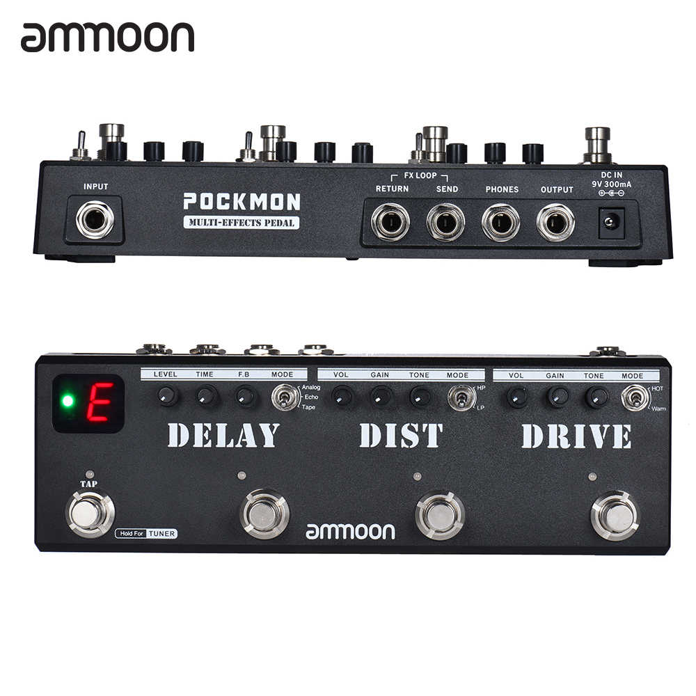ammoon pockmon multi effects guitar pedal strip with tuner delay distortion overdrive fx loop. Black Bedroom Furniture Sets. Home Design Ideas