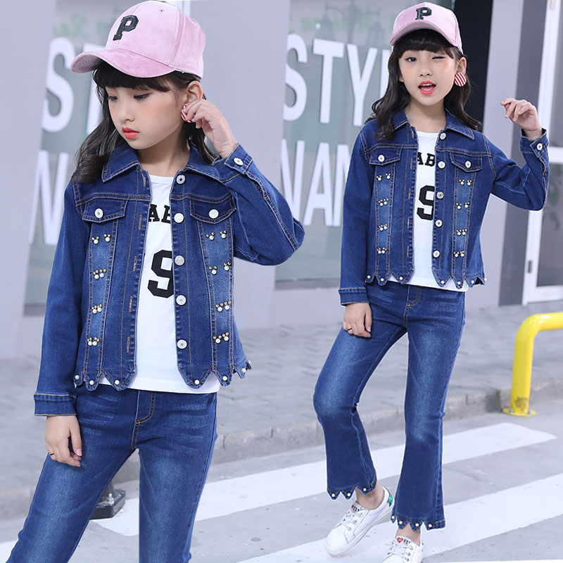 2018 Children Girls Autumn Casual Clothing Set Baby Kids Clothing Sets Denim jacket + Jeans pant 2-Piece Suit Set fashion 4-12 y children s clothing spring high quality cowboy three piece suit of the girls flowers fashion baby suit denim set for infants