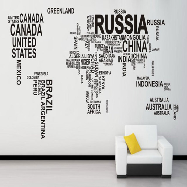 black world map wall sticker for learning study wall art pegatinas de pared home decor maximum
