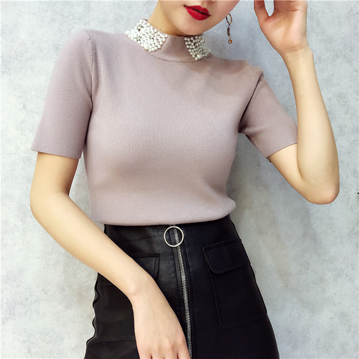 ALPHALMODA 18 Summer Ladies Short-sleeved Pearl Collar Pullovers Casual Slim Knit Sweater Women Studded Fashion Jumpers 31