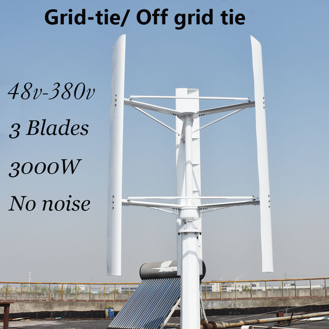 3000w vertical wind turbine 250 RPM wind generator 96v to 380v on grid off  grid 3 phase 3 blades no noise home use wind turbine
