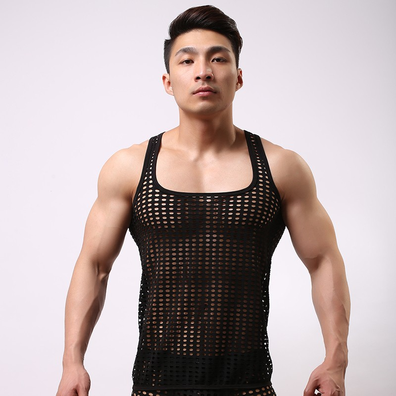 Fishnet Cut outs Men Sexy See Inner Funny Tank Tops Gay ...