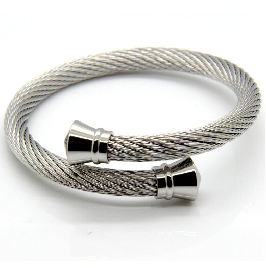 New design Stainless Steel Cuff Bangle Large Heavy Wire Cable Chain